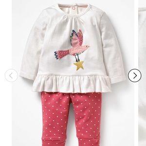 Mini Boden baby girl bird aplique set